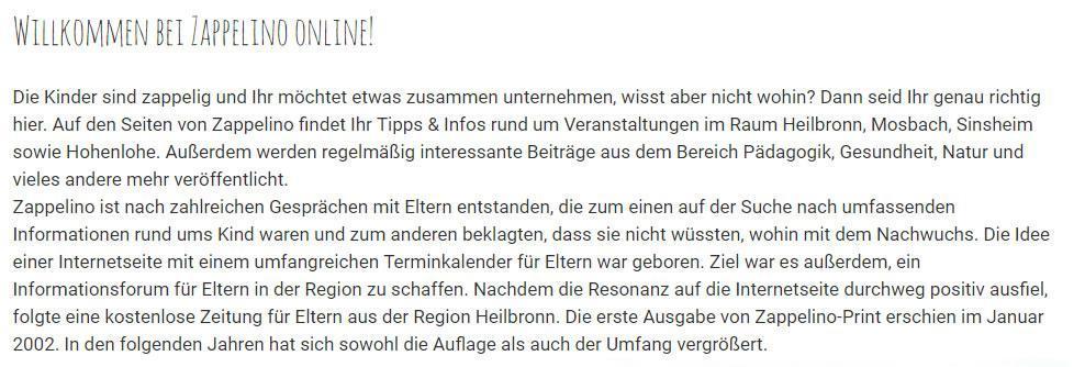 Elternzeitung Linkenheim-Hochstetten - Zappelino.de: Elternratgeber, Infos für Kinder / Jugendliche und Eltern, Terminkalender, Veranstaltungskalender, Feiern